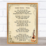 Lionel Richie Truly Song Lyric Vintage Quote Print