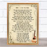 UB40 I Got You Babe Song Lyric Vintage Quote Print