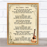 Eric Clapton Layla Song Lyric Vintage Quote Print