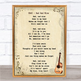 UB40 Red Red Wine Song Lyric Vintage Quote Print