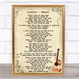 Lonestar Amazed Song Lyric Vintage Quote Print