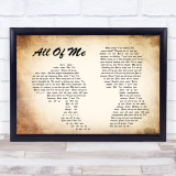 John Legend All Of Me Man Lady Couple Song Lyric Quote Print