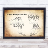Whitney Houston I Will Always Love You Man Lady Couple Song Lyric Quote Print