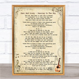 Dani And Lizzy Dancing In The Sky Vintage Guitar Song Lyric Quote Print