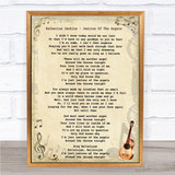 Katherine Jenkins Jealous Of The Angels Vintage Guitar Song Lyric Quote Print