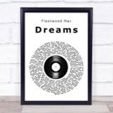 Fleetwood Mac Dreams Vinyl Record Song Lyric Quote Print