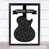 Prince Purple Rain Black & White Guitar Song Lyric Quote Print