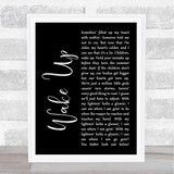 Arcade Fire Wake Up Black Script Song Lyric Quote Print