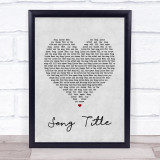 Any Song Lyrics Custom Grey Heart Wall Art Quote Personalised Lyrics Print