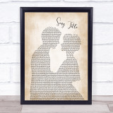 Any Song Lyrics Custom Man & Lady Wall Art Quote Personalised Lyrics Print