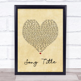 Any Song Lyrics Custom Vintage Heart Wall Art Quote Personalised Lyrics Print
