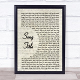 Any Song Lyrics Custom Vintage Script Wall Art Quote Personalised Lyrics Print