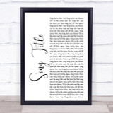 Any Song Lyrics Custom White Script Wall Art Quote Personalised Lyrics Print