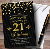 Gold Confetti Black Striped 21st Customised Birthday Party Invitations