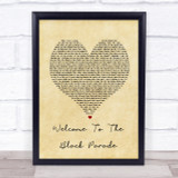 My Chemical Romance Welcome To The Black Parade Vintage Heart Song Lyric Print