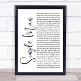 Lynyrd Skynyrd Simple Man White Script Song Lyric Quote Print