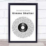 The Rolling Stones Gimme Shelter Vinyl Record Song Lyric Quote Print