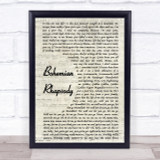 Queen Bohemian Rhapsody Vintage Script Song Lyric Quote Print