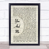 Lifehouse You And Me Vintage Script Song Lyric Quote Print