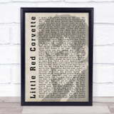 Prince Little Red Corvette Shadow Song Lyric Quote Print