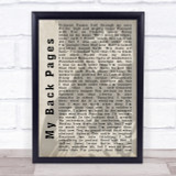 Bob Dylan My Back Pages Shadow Song Lyric Quote Print