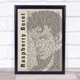 Prince Raspberry Beret Shadow Song Lyric Quote Print