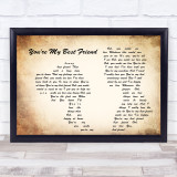 Queen You're My Best Friend Man Lady Couple Song Lyric Quote Print
