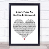 Billy Joel Scenes From An Italian Restaurant White Heart Song Lyric Quote Print