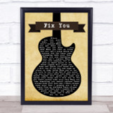 Coldplay Fix You Black Guitar Song Lyric Quote Print