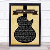 Eagles Hotel California Black Guitar Song Lyric Quote Print