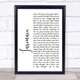 Faithless Insomnia White Script Song Lyric Quote Print