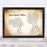Guns N' Roses Sweet Child O' Mine Man Lady Couple Song Lyric Quote Print