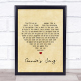 John Denver Annie's Song Vintage Heart Song Lyric Quote Print