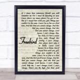 Lynyrd Skynyrd Freebird Vintage Script Song Lyric Quote Print