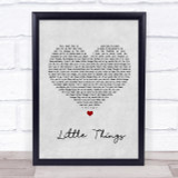 One Direction Little Things Grey Heart Song Lyric Quote Print