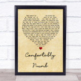 Pink Floyd Comfortably Numb Vintage Heart Song Lyric Quote Print
