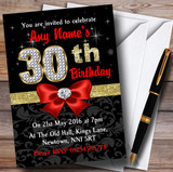 Red Black Gold Diamond 30Th Birthday Party Customised Invitations