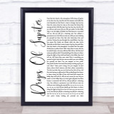 Train Drops Of Jupiter White Script Song Lyric Quote Print
