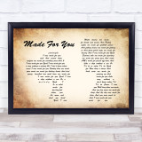 Jake Owen Made For You Man Lady Couple Song Lyric Quote Print