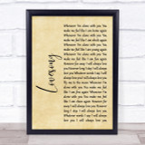 The Cure Lovesong Rustic Script Song Lyric Quote Print