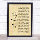 Etta James At Last Rustic Script Song Lyric Quote Print