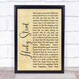 John Sullivan Hooky Street Rustic Script Song Lyric Quote Print