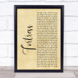 Queens of the Stone Age Fortress Rustic Script Song Lyric Quote Print