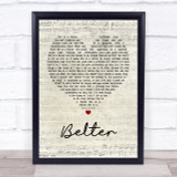 Gerry Cinnamon Belter Script Heart Song Lyric Quote Print