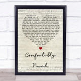 Pink Floyd Comfortably Numb Script Heart Song Lyric Quote Print