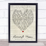 Harvest Moon Neil Young Script Heart Quote Song Lyric Print