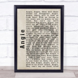 The Rolling Stones Angie Shadow Song Lyric Quote Print