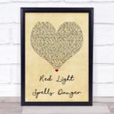 Billy Ocean Red Light Spells Danger Vintage Heart Quote Song Lyric Print