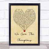 Queen We Are The Champions Vintage Heart Quote Song Lyric Print