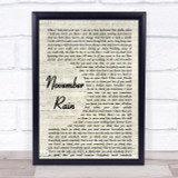Guns N' Roses November Rain Song Lyric Vintage Script Quote Print